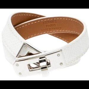 Hermès White Kelly Double Tour Wrap Bracelet